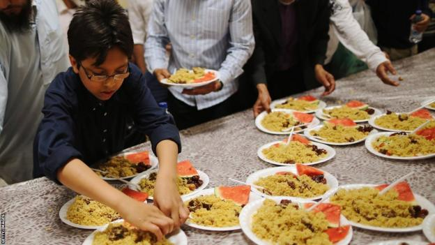Iftar being served at a mosque
