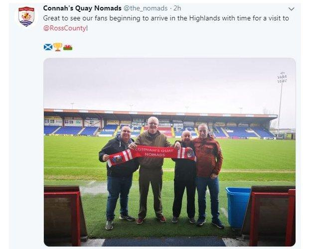 Connah's Quay Nomads fans arrive in Inverness