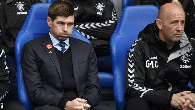 Rangers manager Steven Gerrard and assistant Gary McAllister look frustrated