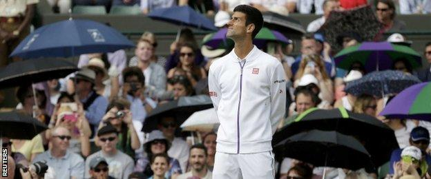 Novak Djokovic's match with Kevin Anderson was delayed by rain