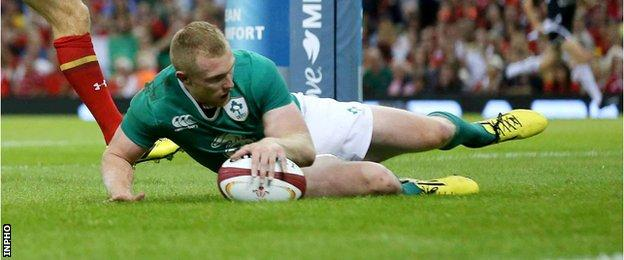 Keith Earls scored Ireland's third try in the win at the Millennium Stadium
