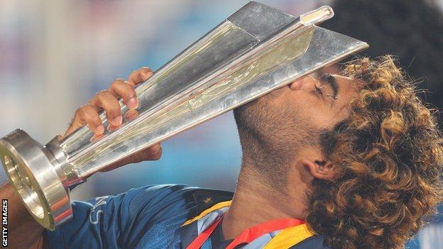 Lasith Malinga, Sri Lanka's victorious captain in 2014, with the World T20 trophy