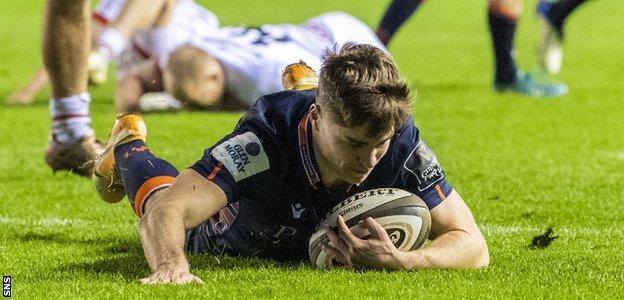 Jack Blain scores a try for Edinburgh against Ulster