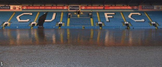 Carlisle's flooded Brunton Park ground