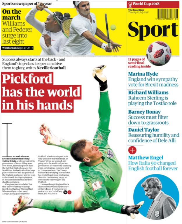 The Guardian leads on an interview with Neville Southall about England goalkeeper Jordan Pickford