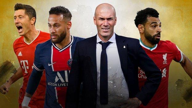 Robert Lewandowski, Neymar, Zinedine Zidane and Mohamed Salah
