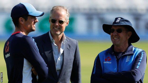 Alastair Cook with Ed Smith and England head coach Trevor Bayliss