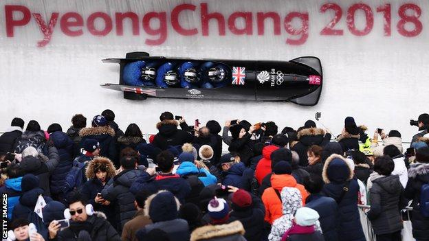 Joel Fearon competes in the four-man bobsleigh at Pyeongchang in 2018