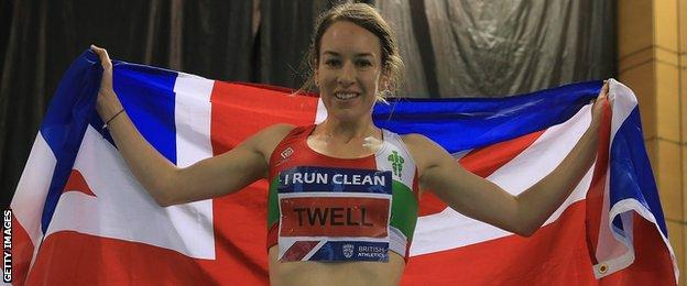 Steph Twell celebrates her 3,000m win in Sheffield