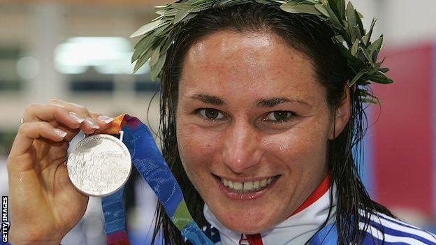 Sarah Storey with a silver medal at the Athens Paralympics in 2004