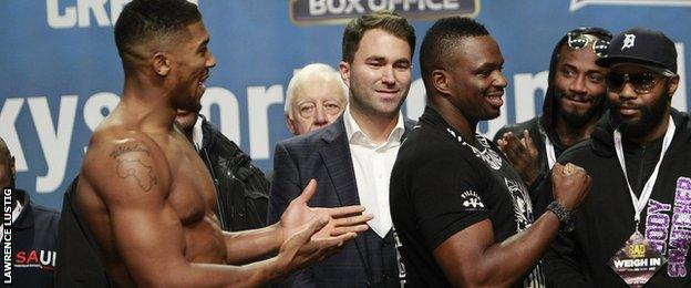 Anthony Joshua and Dillian Whyte at the weigh-in