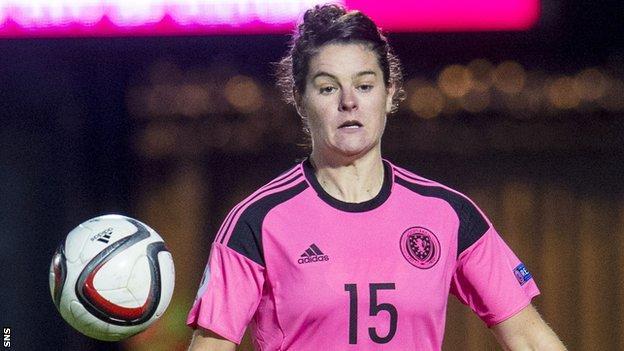Jennifer Beattie in action for Scotland Women