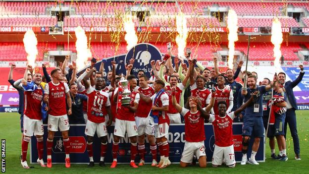Arsenal celebrate winning the 2019-20 FA Cup