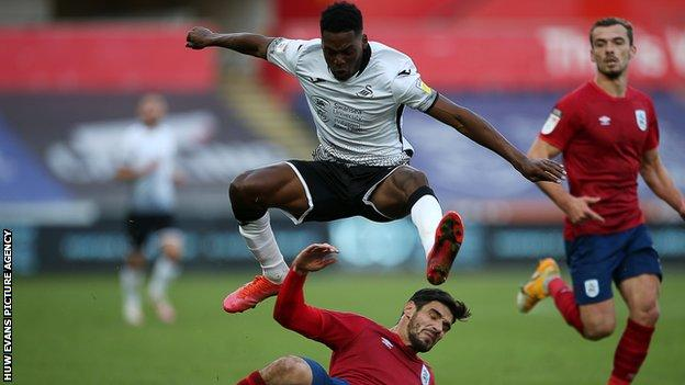 Jordon Garrick has made only two Swansea substitute appearances since his red card against Luton on 27 June
