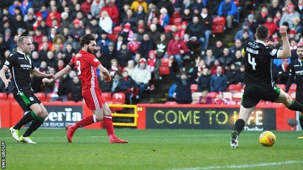 Graeme Shinnie sweeps in the opening goal in a dominant Dons display