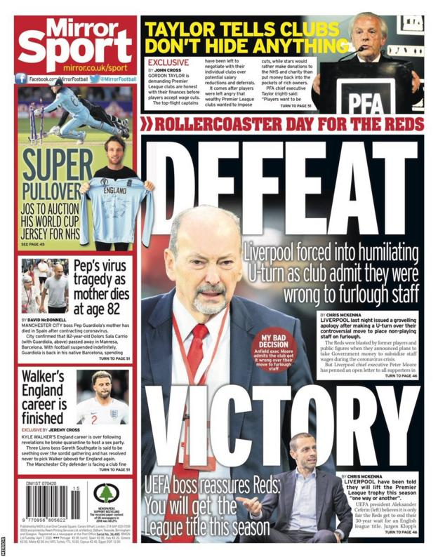 The back page of Tuesday's Mirror