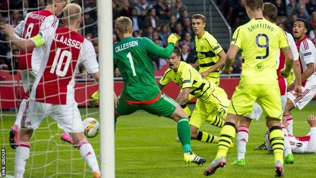 Celtic led twice in Amsterdam but were pegged back for a 2-2 draw