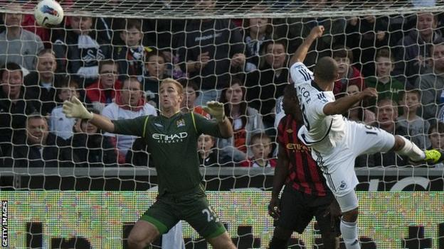 Swansea City beat Manchester City on 11 March 2012