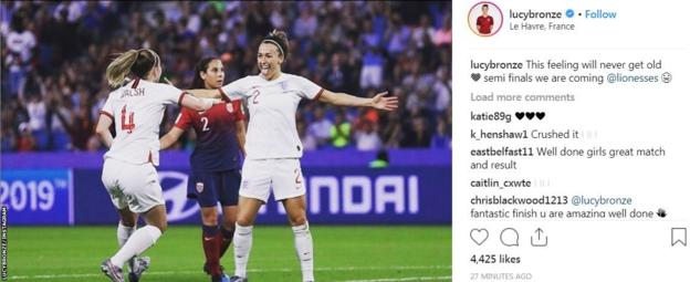 Lucy Bronze is looking forward to her second Women's World Cup semi-final having played at the 2015 tournament