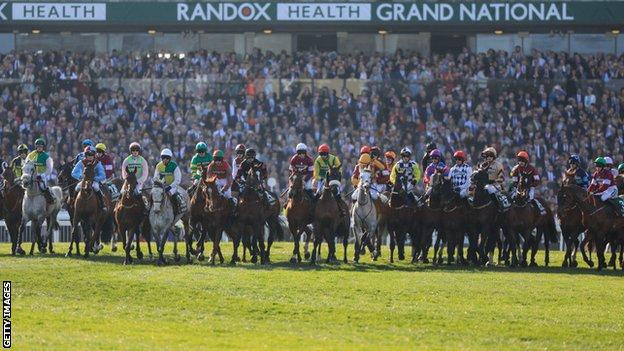A wide view of the Grand National starters at Aintree