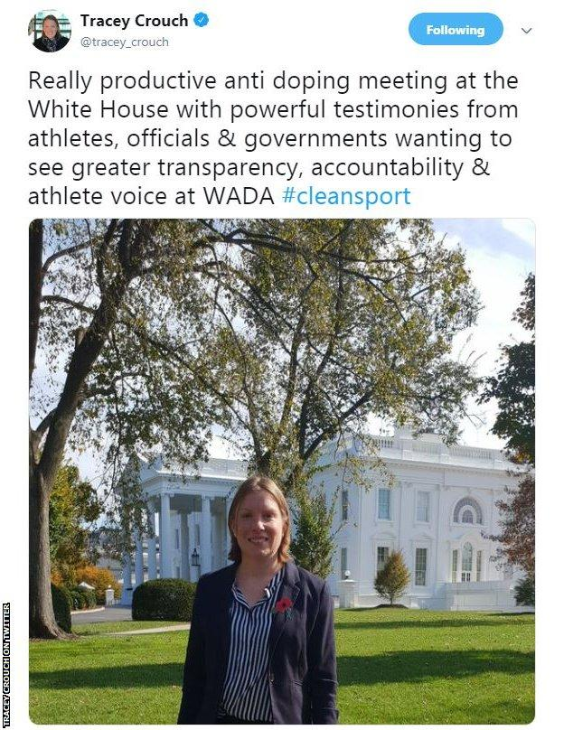 Sports Minister Tracey Crouch was part of the delegation at the White House anti-doping summit