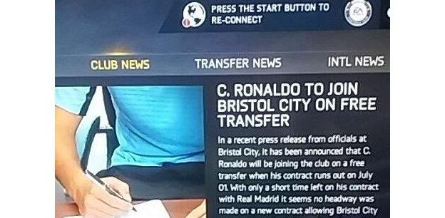 Ronaldo signs for Bristol City on Twitter