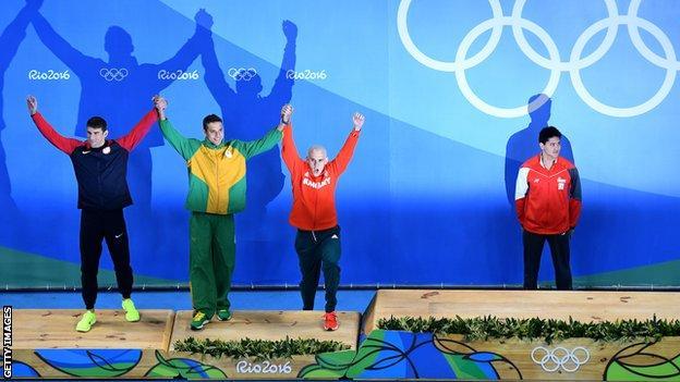 Michael Phelps, Chad Le Clos, Laszlo Cseh and Joseph Schooling