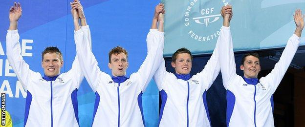 The Scotland team pose during the medal ceremony for the Men's 4 x 200m freestyle relay final