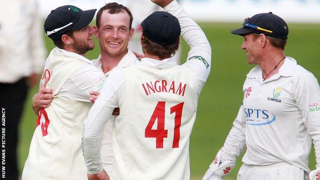Graham Wagg celebrates taking a wicket for Glamorgan