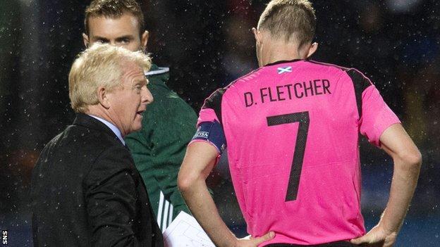 Scotland head coach Gordon Strachan and Darren Fletcher