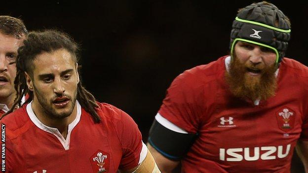 Josh Navidi and Jake Ball in action for Wales