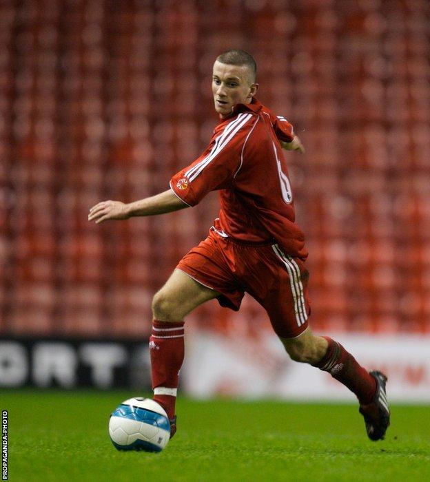 Sean Highdale in action for Liverpool against Arsenal during the FA Youth Cup fourth-round match at Anfield in 2008