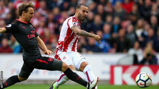Jese Rodriguez puts Stoke ahead against Arsenal