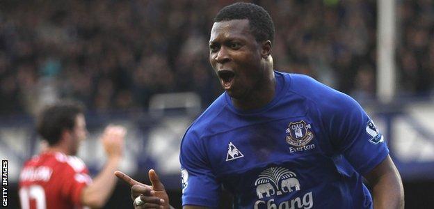 Yakubu celebrates scoring a goal for Everton