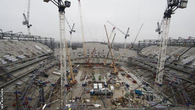 Tottenham's new stadium under construction