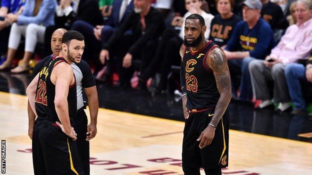 Larry Nance Jr and LeBron James playing for the Cleveland Cavaliers