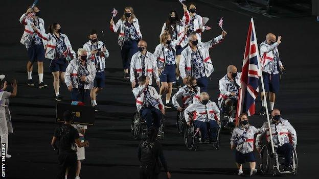 Ellie Simmonds and John Stubbs lead out a 17-strong ParalympicsGB delegation