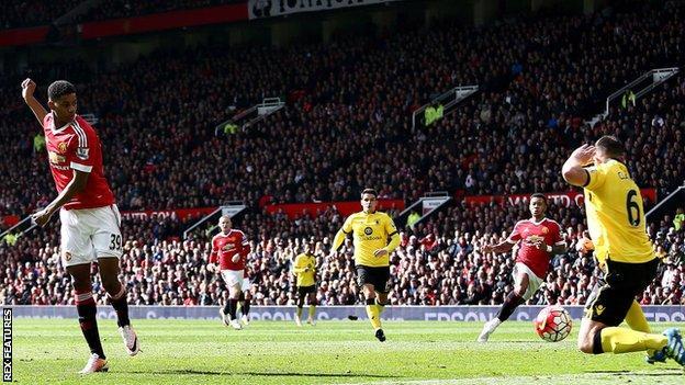 Marcus Rashford scores for Manchester United against Aston Villa