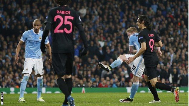 Manchester City midfielder Kevin de Bruyne scores for his side against PSG