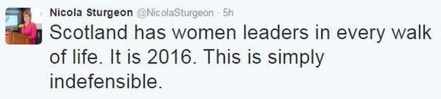 Nicola Sturgeon tweet criticising the decision of Muirfield members