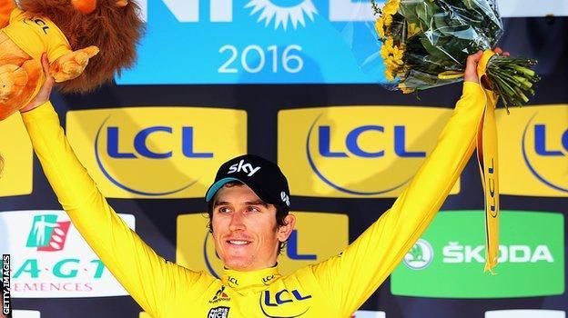 Geraint Thomas celebrates victory in the Paris-Nice race