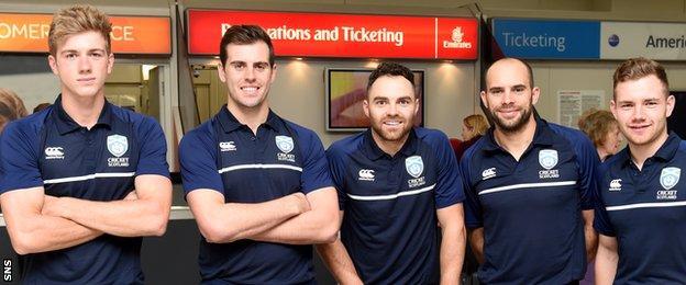 Scotland's Gavin Main, Calum Macleod, Preston Mommsen, Kyle Coetzer, Matthew Cross