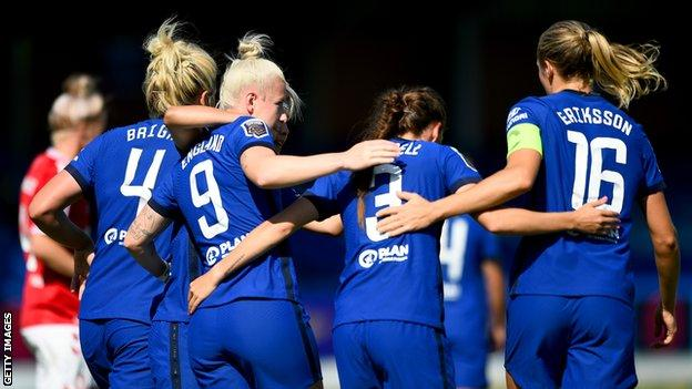 Chelsea are the second WSL side in as many days to score nine goals in a fixture after Arsenal thrashed West Ham 9-1 on Saturday