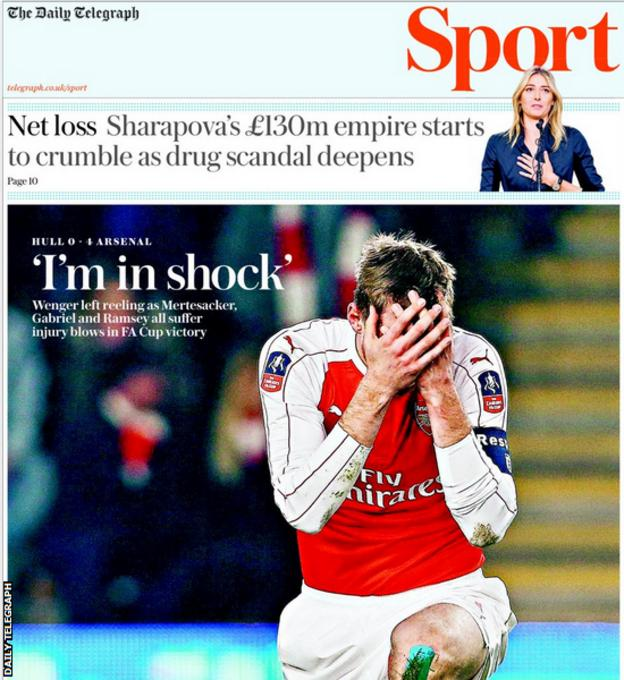 Daily Telegraph sports page