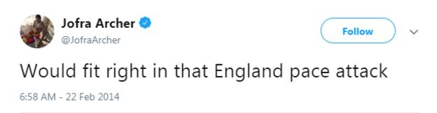 """Jofra Archer tweet from February 2014 saying """"Would fit right into that England pace attack."""""""