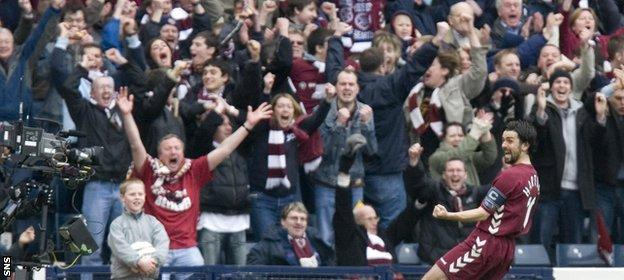 Paul Hartley scored a memorable hat-trick for Hearts against Hibs in the 2006 Scottish Cup semi-final