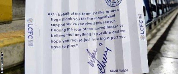 A clapstick with a message from Jamie Vardy