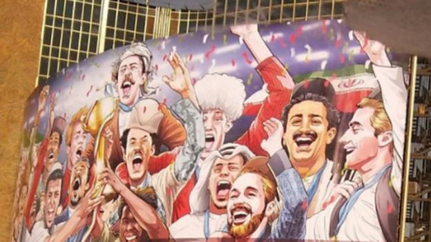 102021953 billboard - World Cup 2018: A billboard in make stronger of Iran is criticised for with the exception of for ladies