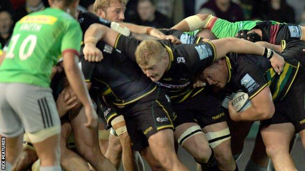Dylan Hartley rumbles over his try for Northampton against Harlequins