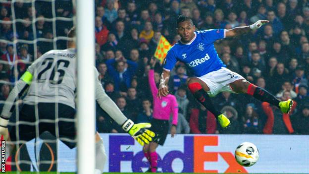 Alfredo Morelos has a shot for Rangers in the Europa League